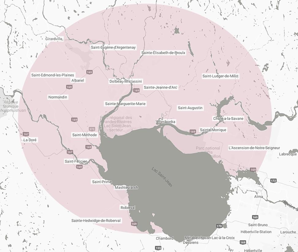 Carte des régions desservies